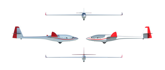 Twin seater glider render set