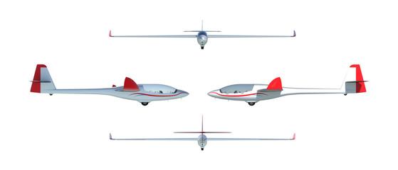 Twin seater glider render set