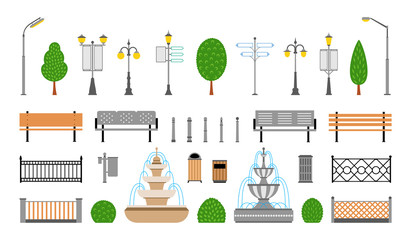 Vector City, Street, Park and Outdoor Elements Icons Set Fotomurales