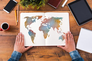 Foto op Plexiglas Wereldkaart Planning his journey.