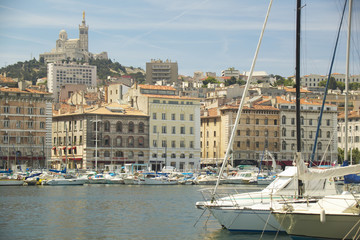 The town, harbor at Marseilles, France