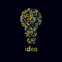 Bulb light idea. concept of big ideas inspiration innovation, invention, effective thinking.