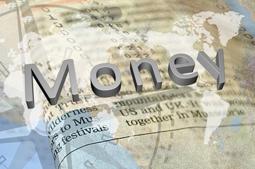 Silver money text on newspaper background
