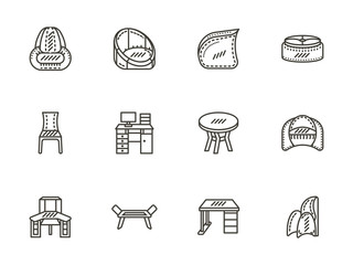 Chairs and tables flat line icons set