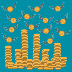 Dollar coin with wings flying on stacks of gold coins. Wealth, f