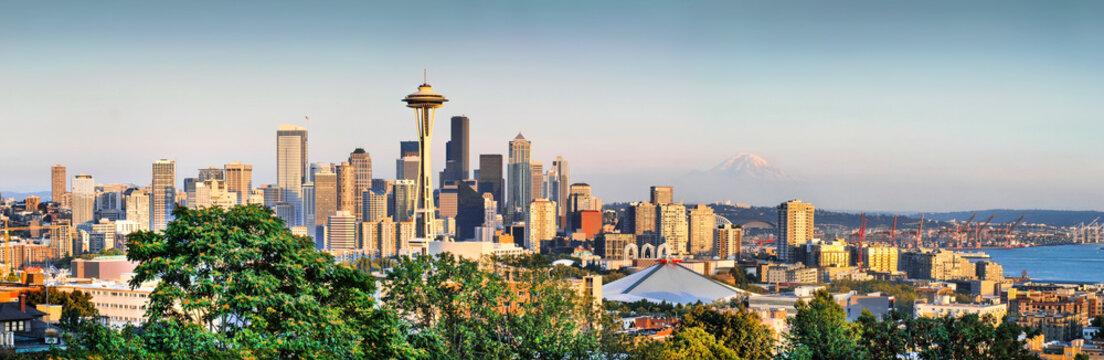 Seattle skyline panorama at sunset, Washington State, USA