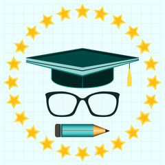 Graduation hat, pencil and glasses in Stars circle