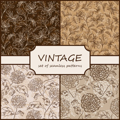 Seamless Vintage Floral Background Collection. Vector background