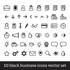 Big business icons vector set (black)