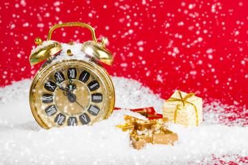 vintage christmas decoration golden star and antique golden cloc
