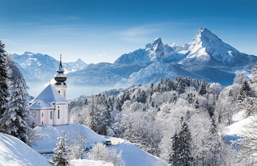 Wall Mural - Winter wonderland with chapel in the Alps, Berchtesgadener Land, Bavaria, Germany