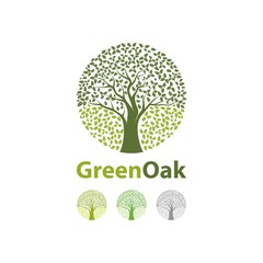 Autumn of Oak Tree Circle Logo Design Vector