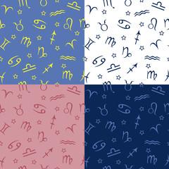 Zodiac star seamless pattern blue yellow pink vector