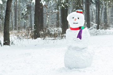 Holiday winter three snowball snowman with hat and scarf