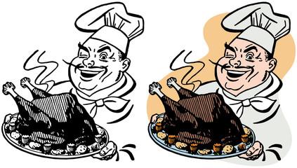 Chef serving Thanksgiving turkey