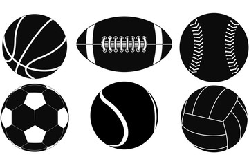 Basketball ball, Baseball ball, American football ball, Volleyball, Soccer ball, Tennis ball.