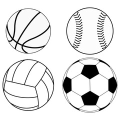 Balls set: Basketball ball, Baseball ball, Volleyball, Soccer ball.