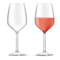 Glass of rose wine. Wine glass empty.