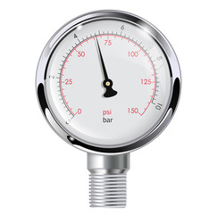 Manometer. Chrome frame.
