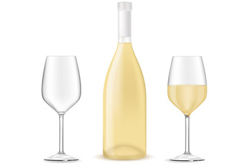 Bottle of white wine with a glass.