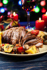 Juicy roast pork on the holiday table