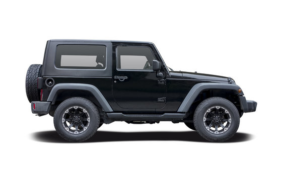 Black Jeep side view isolated on white