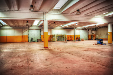 empty warehouse in hdr