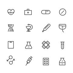 Different line style icons set. Medicin