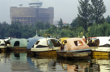 Paddle boats on Lake Greel, Kunming, Yunnan Province, People's Republic of China