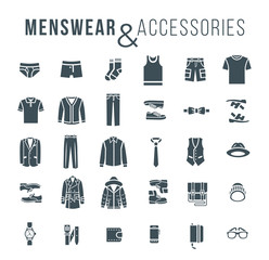 Men fashion clothing and accessories flat outline vector icons. Silhouettes objects of male outfit clothes, underwear, shoes and every day essentials for any season.