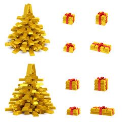 New Year (Christmas) creative concept (set). Christmas tree and gift boxes with red ribbon in the form of golden bars (ingots, bullions) as symbol of holiday, wealth, financial success and luxury