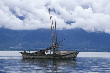 Fishing boat on Erhai Lake in Dali, Yunnan Province, People's Republic of China