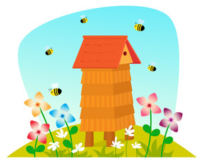 Beehive - Cute cartoon beehive on a field with flowers and bees. Eps10