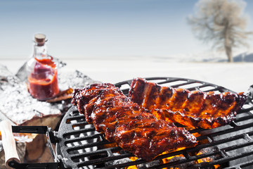 Acrylic Prints Grill / Barbecue Grilled marinated spare ribs on a barbecue
