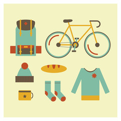 Icon set of travel outdoor objects, bag, bike, hat, socks, sweater, bread, cup. Tourism and holiday journey equipment. Flat design modern travel illustration