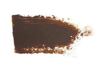 photo brown grunge brush strokes oil paint isolated on white background