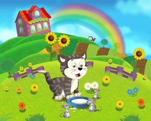 The farm scene for kids - cartoon background - illustration for the children
