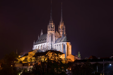 Night picture of Cathedral of St. Peter and Paul, Brno