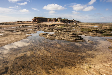 Sky relflection in pool at Hilbre Island on the Wirral
