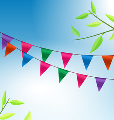 Background with Buntings Flags Garlands