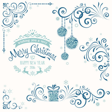 Ornate Merry Christmas Set Blue