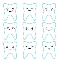 Kawaii teeth set isolated characters