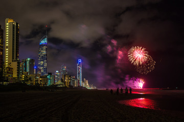 Firework at the beach celebrations on the Gold Coast