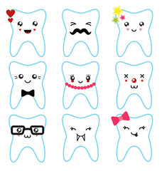Set of funny teeth characters isolated illustration