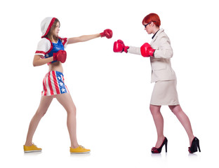 Businesswoman and sportsman boxing isolated on white
