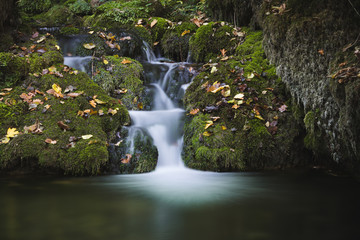 Beautiful waterfall in autumn forest with fallen leaves