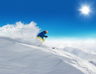 Winter snowy landscape with free-rider