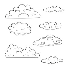 Collection of doodle sketchy clouds.