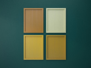 blank frame on interior wall green and orange tone color