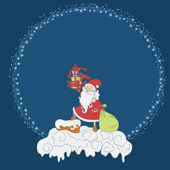 Santa Claus with gifts on the roof around snowflakes round frame. Vector christmas postcard